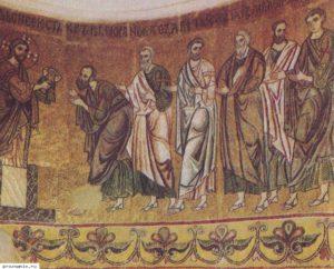Фрагмент мозаичного изображения апсиды Михайловского Златоверхого собора. Евхаристия. XII в.